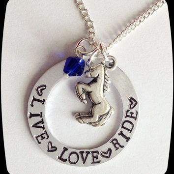 Personalized Horse Jewelry, Live Love Ride, Horse Necklace, HandStamped Jewelry, Aluminum Stamped Disc