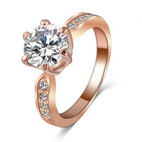 18K Rose Gold/Platinum Plated Crystal Ring Princess Band Women Fashion Jewelry Wedding Engagement