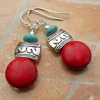 Southwestern Santa Fe earrings red turquoise Bohemian jewelry
