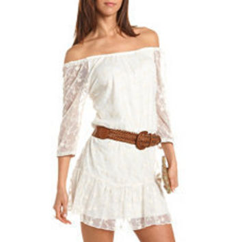 Belted Lace One Shoulder Dress: Charlotte Russe