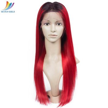 1B/Red Ombre Color Brazilian Virgin Straight Hair Human Hair