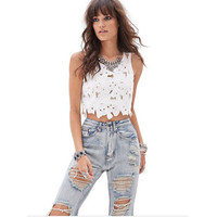 Online Shop Embroidery Tops Fashion Women Summer Black White Lace Flowers Crochet Hollow Out Sexy Crop Tops Ladies Sleeveless Shirts Tops|Aliexpress Mobile