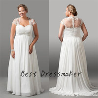 Discount Custom Made Elegant Wedding Dress Plus Size Cap Sleeve Sexy Sheer Lace Back Floor Length Pleated Bridal Gown Vestidos