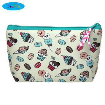 NEW! Food Makeup Case-Ice Cream Makeup Bag-Macarons Zip Bag-Desserts Cosmetic Bag
