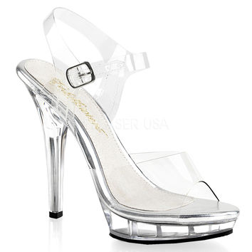 Clear Ankle Strap Sandal-Stripper Shoes