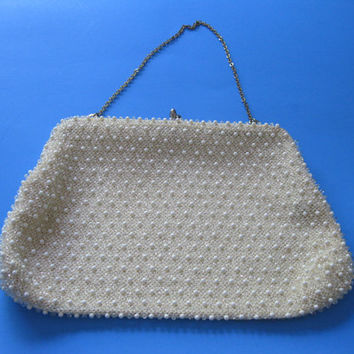 Off White Corde-Beads Purse by Lumured Wedding Fashion Vintage