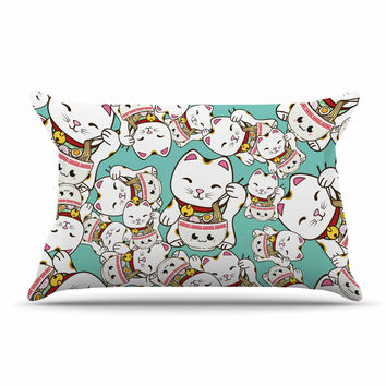 "Juan Paolo ""Ramen Cats"" Teal White Pillow Case"