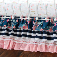 Coral and Navy Baby Girl Bedding, Stripe and Floral Chic, Coral and Navy Nursery, Bumperless crib bedding, Peach Crib Set, Navy Stripe,