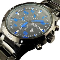 CURREN Analog Blue Hands & Details in Dial, Black Band, Men Watch