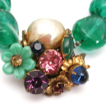 Rare Vintage Miriam Haskell Signed Necklace Green Baroque Glass Beads/Fancy Fob