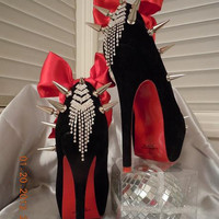 "High Heel Platform Spiked Women Shoes Black size 8.. Louboutin inspired ""My Valentine"" collection...A SpikesByG Design"