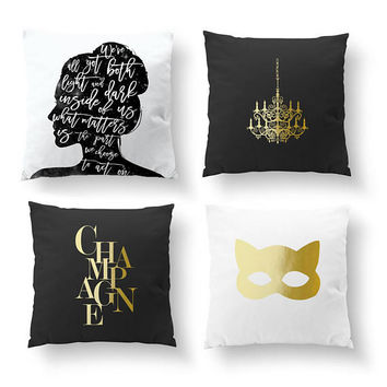 SET of 4 Pillows, Fashion Decor, Throw Pillow, Feminine Art, Bedroom Decor, Cushion Cover, Champagne Pillow, Gold Pillow, Chandelier Pillow