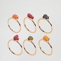 DesignB London Multi Coloured Crystal Stacking Rings at asos.com