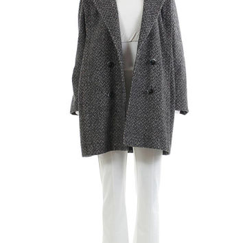 "Oversized Wool Jacket 80s Clothing Speckled Wool Blazer Gray Wool Winter Jacket Minimalist Vintage Clothing Women's Size MEDIUM // 41"" Bust"