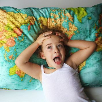 GIANT VINTAGE WORLD map floor cushion organic by mybeardedpigeon