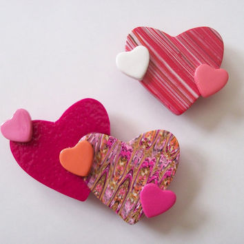 Valentines Day Heart Magnets, polymer clay refrigerator magnets, set of two pink and red hearts