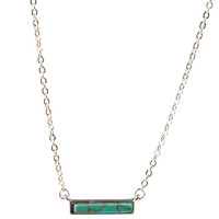 Silver Necklace With Turquoise Bar