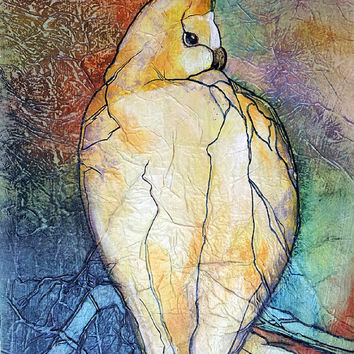 COCKATIEL Parrot Bird Original Painting Zen Inspired Watercolor On Tissue Free Shipping Lynne French