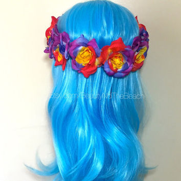 Rainbow colorful full head rose flower crown raves one size