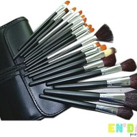 En'da Complete Essential 34pcs Professional Makeup Brushes Set with Black High Quality Leather Bag/case By En'da Professional