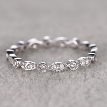 Natural Diamond Full Eternity Wedding Ring,Solid 14K White gold,Anniversary Ring,Art deco style,stackable ring,milgrain,Royal Retro vintage