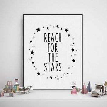 Black White Nordic Minimalist Typography Stars Quotes  Poster Print Wall Art Boy Kids Room Decoration Canvas Painting No Frame