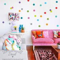 Colorful Polka Dots Wall Decal - Removable Wall Sticker