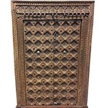 Mogulinterior Antique Indian Floral Carved Window Frame Double Door Panels Wooden Jharokha Haveli Design Decor