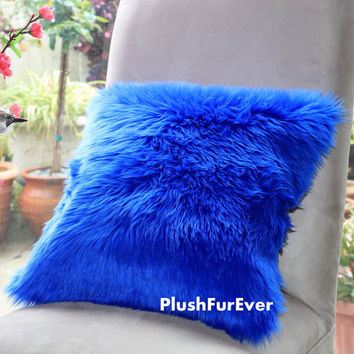 "17""x17"" Blue Luxury Shaggy Fur Pillows Faux Fake Fur Pillow (INSERT INCLUDED) Bedding Sofa Pillows decor"