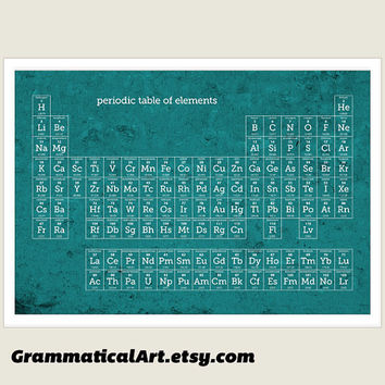 Periodic Table of Elements Large Poster - Modern Teal Print