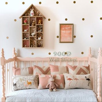 Gold polka Dots Wall Sticker Wall Decal Removable home decoration art Wall Decor Free Shipping
