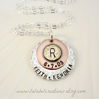 Personalized Necklace, Hand Stamped Jewelry for Mom, Personalized Gifts for Mothers, Family Names Initial Hand Stamped Mixed Metals Necklace