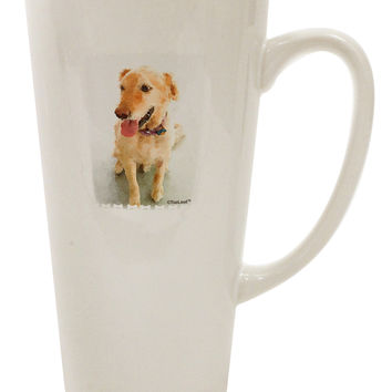 Golden Retriever Watercolor 16 Ounce Conical Latte Coffee Mug