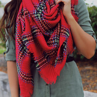 Al Fresco Blanket Scarf - Red