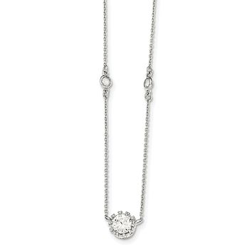 Sterling Silver Round Crown Set CZ and Station Necklace