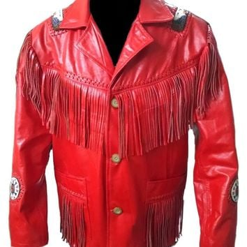 Leather Skin Men Red Western Fringe Cowboy Genuine Real Leather Jacket