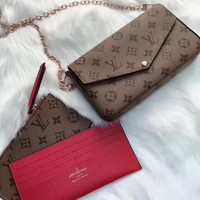 Louis Vuitton Women Leather Chain Crossbody Wallet Shoulder Bag