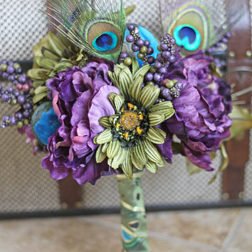 Peacock Wedding Bridesmaid Bouquet - Handmade Keepsake Bridal Party Bouquets