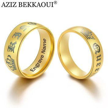 AZIZ BEKKAOUI 3 Colors DIY King Queen Couple Rings with Crown Engrave Name Stainless Steel Rings Wedding Bands Dropshipping