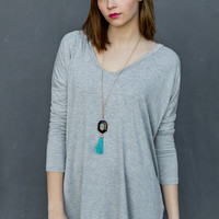 Long Sleeve V-Neck Piko Tunic in Heather Grey