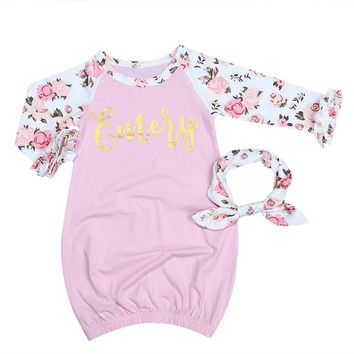2pcs Cotton Long Sleeve Sleeper Nightgown Baby Newborn Gown+Headband Sleepwear Soft Infant Sleeping for Baby Girls 0-6 Months