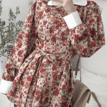 Red Floral Sashes Buttons Draped Peter Pan Collar Sweet Cute Blouse