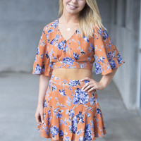 Paradise Floral Crop Top and Skirt Set