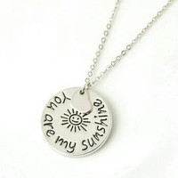 You Are My Sunshine Pendant Necklace with Heart - Unique Pendant Necklace - Statement Necklace - Silver Necklace - Valentines Day Gift