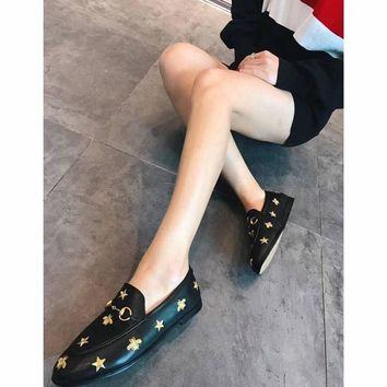 Gucci spring bee stars embroidered loafers flat casual shoes one pedal lazy single shoes small shoes four seasons shoes