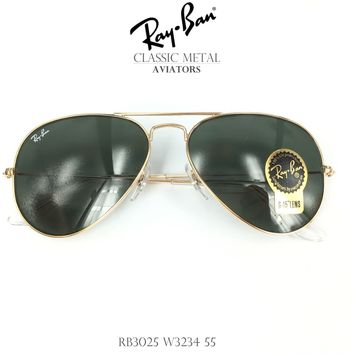 Ray Ban Aviator RB3025 W3234 Sunglasses Gold Frame Green Classic G-15 Lens 55mm