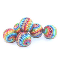 Stripes beads, round beads for Jewelry Making, beads in rainbow colors with gold touch, Craft supplies, set of 6 colorful Polymer Clay beads