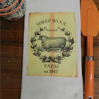 Sheep Towel Vintage Farm Decor Sheep Flour Sack Towel