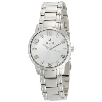 Bulova 96P111 Women's Diamond Accented Silver Dial Steel Bracelet Watch