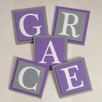 Custom Name Letters PURPLE and GRAY Personalize Kids Room Decor, Baby Girl Infant Gift Ideas, Gift for New Parents, Purple Grey Sign Plaques